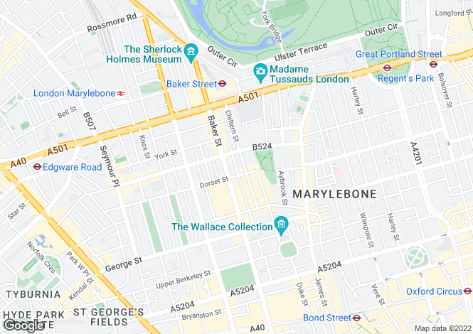 Map for Chiltern Street, South Marylebone, W1U
