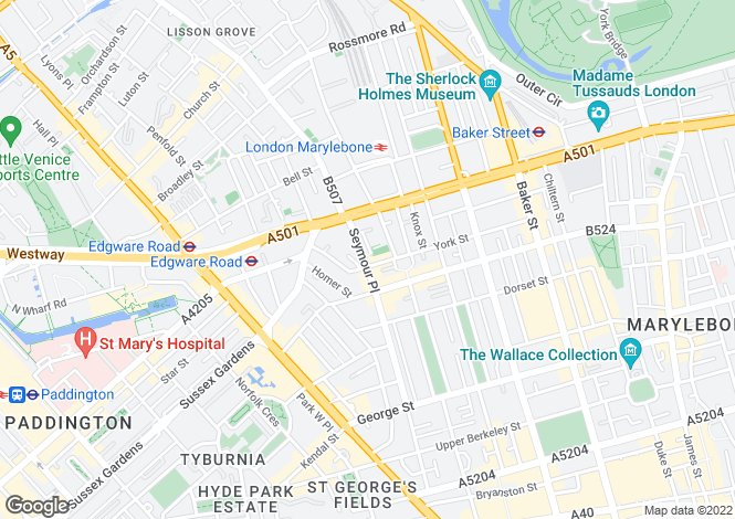 Map for Seymour Place, Penthouse Flat, Marylebone, London, W1H