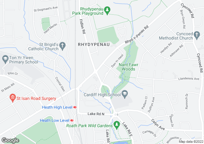 Map for Rhydypenau Road, Cyncoed, CARDIFF, South Glamorgan