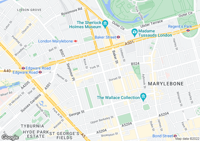 Map for Gloucester Place, Marylebone, W1U