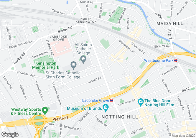 Map for Ladbroke Grove, London, W10