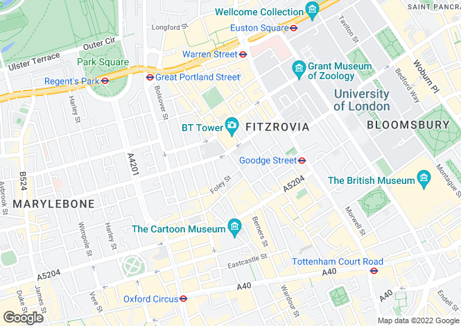 Map for Cleveland Street, Fitzrovia, W1T