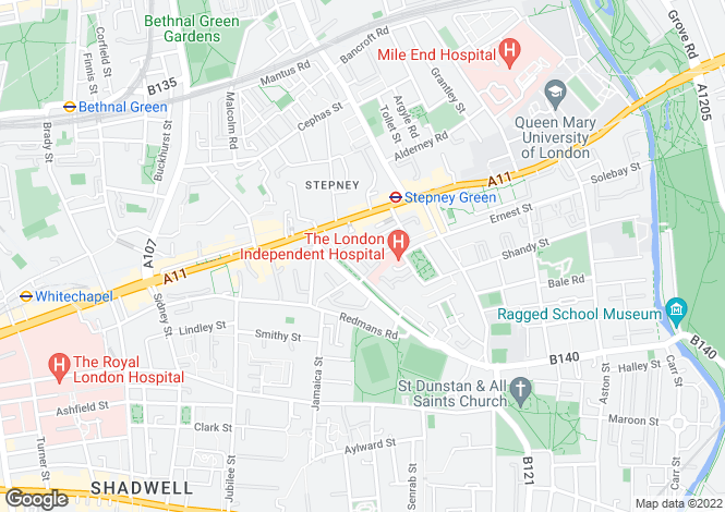 Map for Roland Mews, Stepney Green, E1 3JT