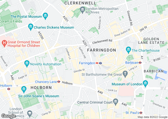 Map for Saffron Hill, London, Camden