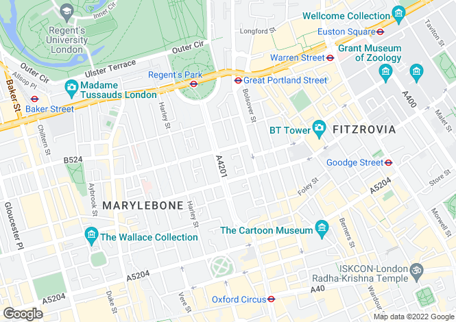 Map for Hallam Mews, Marylebone, W1W