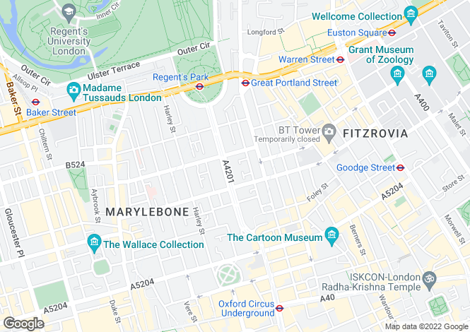 Map for Hallam Mews, Marylebone, London, W1W