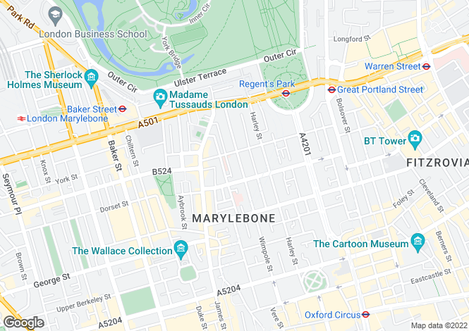 Map for Upper Wimpole Street, Marylebone, London, W1G
