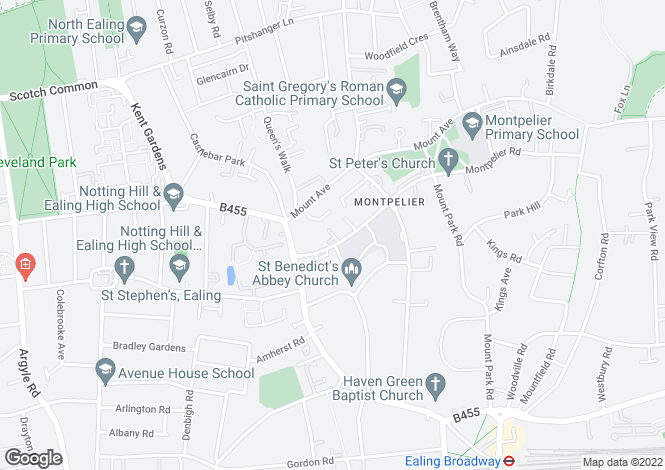 Map for Montpelier Park area,Ealing, London