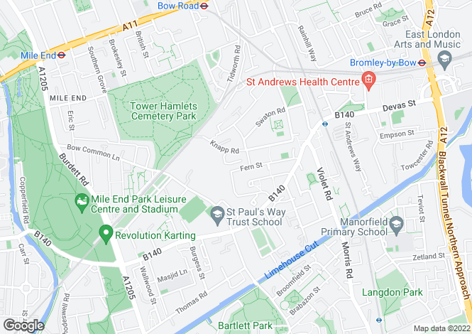 Map for Fern Street, Bow, London, E3