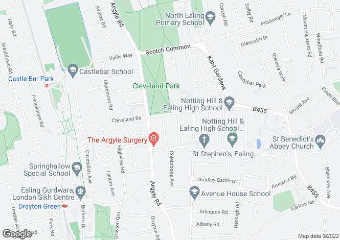 Map for Cleveland Road,Near Notting Hill & Ealing High School,Ealing, London