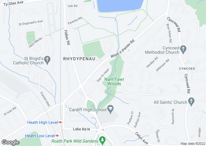 Map for Dan yr Heol, Cyncoed, Cardiff
