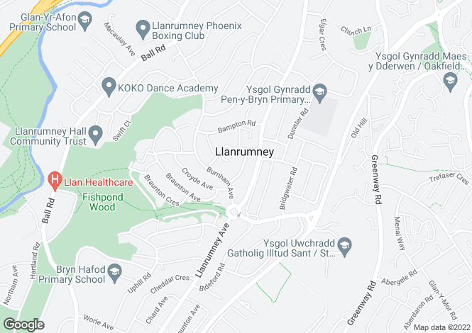 Map for Crediton Road, Llanrumney, Cardiff