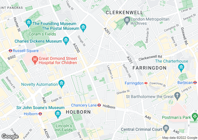 Map for Portpool Lane,  London, EC1N