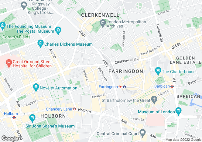 Map for Saffron Hill, Clerkenwell, EC1N