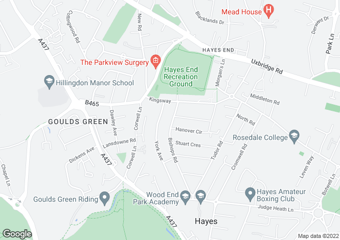 Map for Bishops Road, Hayes, UB3