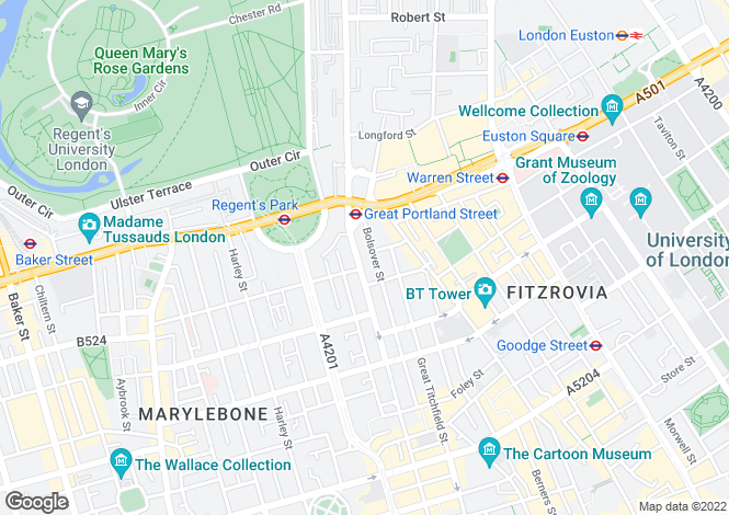 Map for Bolsover Street, London, W1W