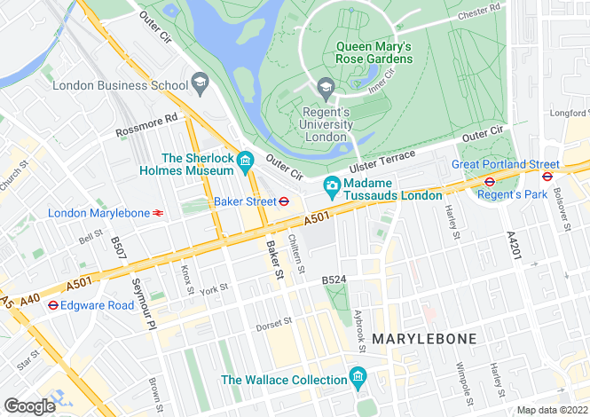 Map for Allsop Place Marylebone NW1
