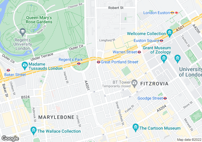 Map for Armitage Apartments, Great Portland Street, Marylebone, W1W