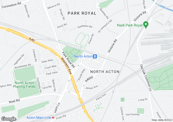 Map for Victoria Road, North Acton, London, W3