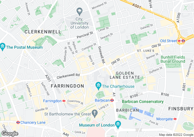 Map for Clerkenwell Road, Clerkenwell, EC1M