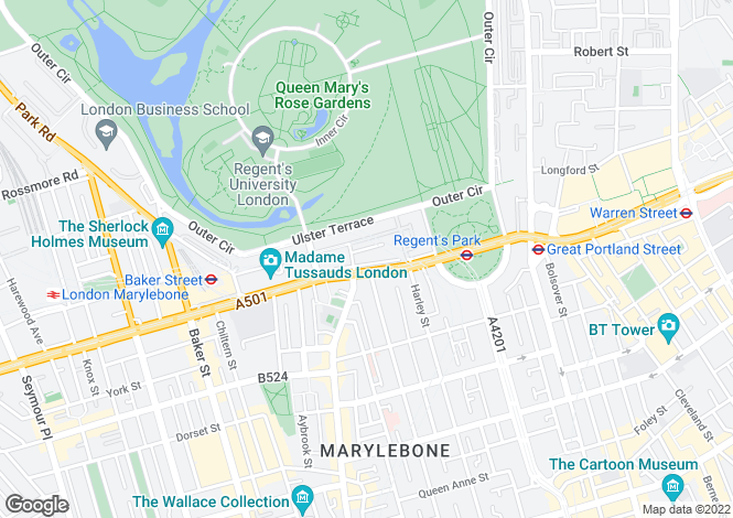 Map for Harley House, Marylebone Road, Marylebone, London, NW1