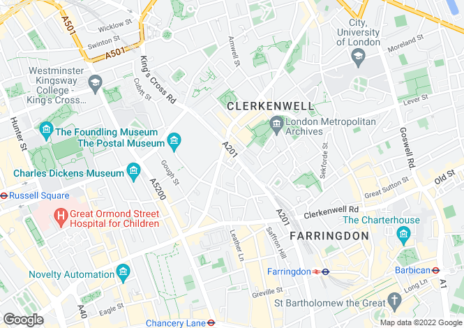 Map for Farringdon Road, London, EC1R