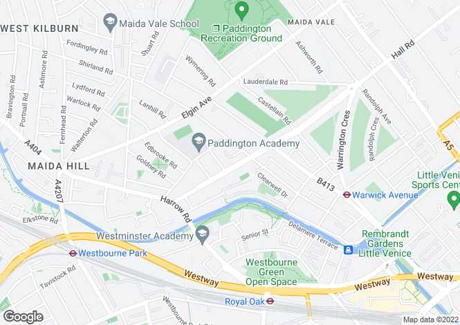 Map for Sutherland Avenue, Maida Vale