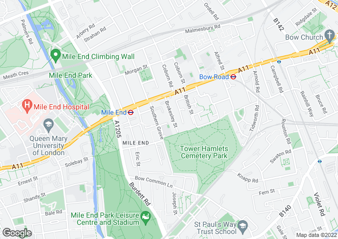 Map for Brokesley Street, Bow, E3