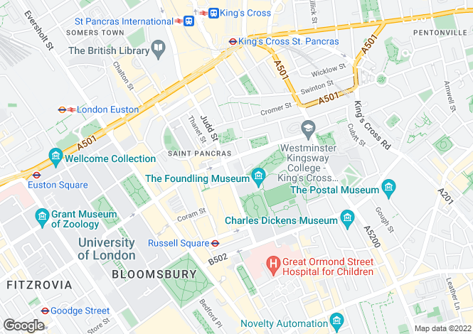 Map for 8 Wakefield Street, London