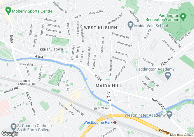 Map for Ashmore Road, Maida Vale, London
