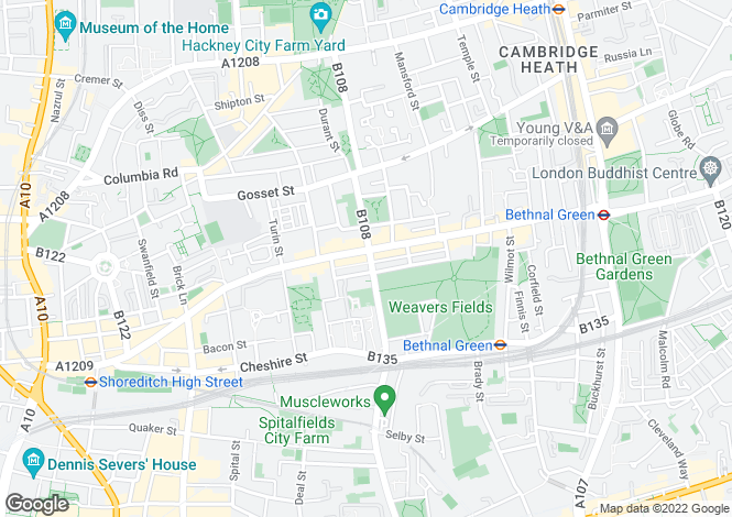 Map for Bethnal Green Road, Bethnal Green, E2