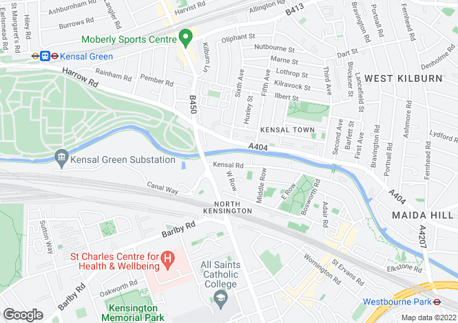 Map for Kensal Road, Kensington, London, W10