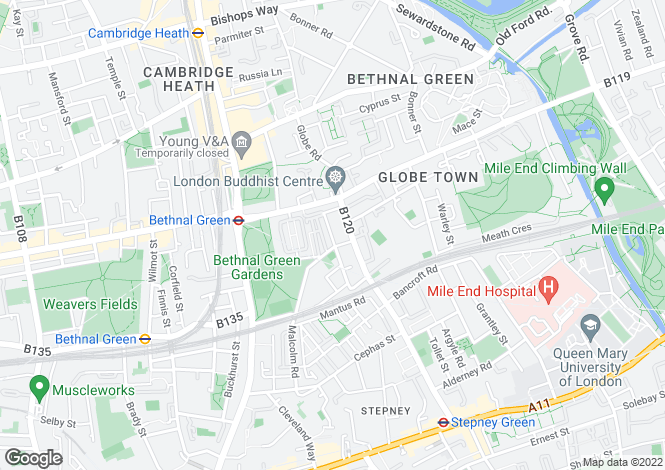 Map for Globe Road Bethnal Green London  E2