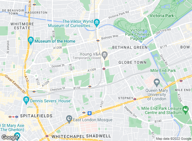 Map for Elms Estates, Bethnal Green