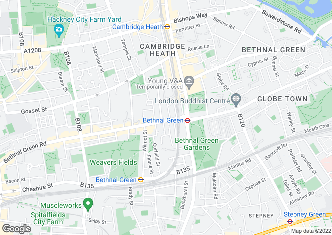 Map for Bethnal Green,  Bethnal Green