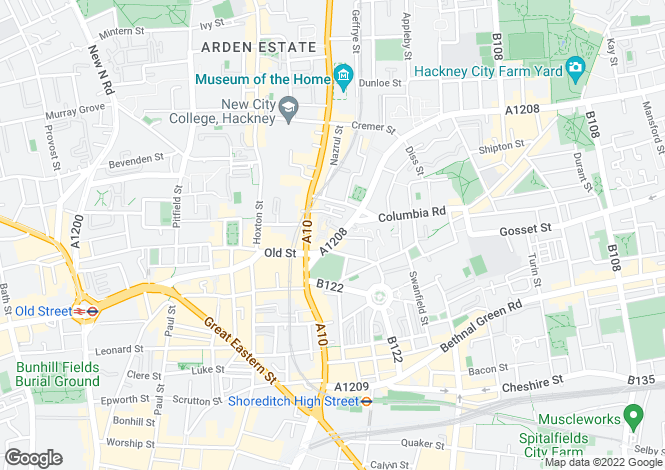 Map for Hackney Rd, E2