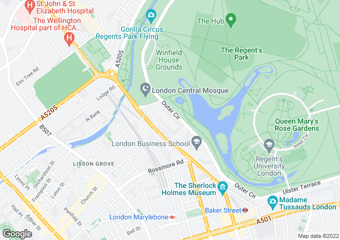Map for Hanover Terrace, Regent's Park