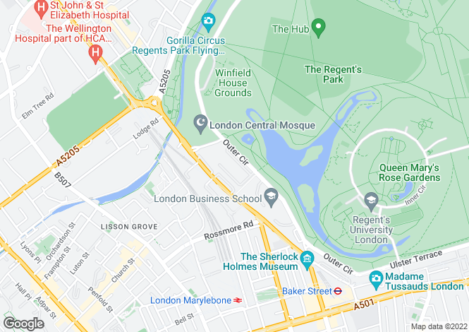 Map for Hanover Terrace, Regents Park