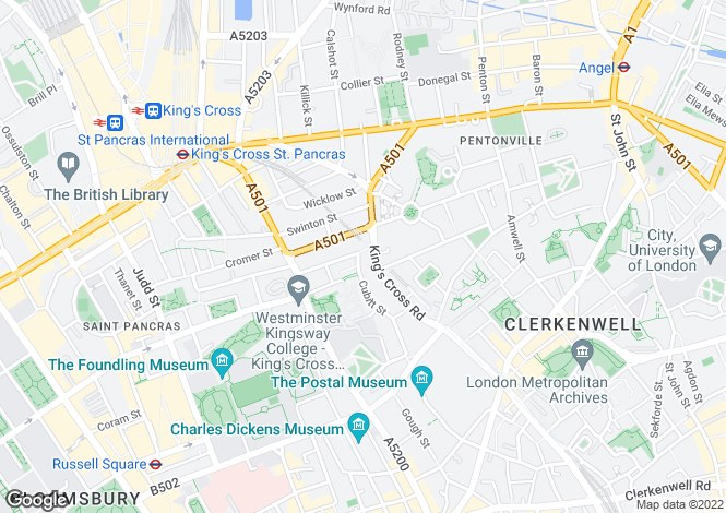 Map for Frederick Street, King's Cross