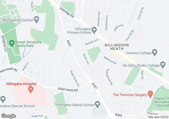 Map for Bourne Avenue, Hillingdon