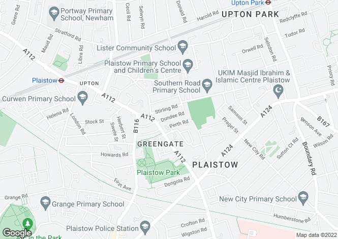 Map for Dundee Road, Plaistow, London, E13