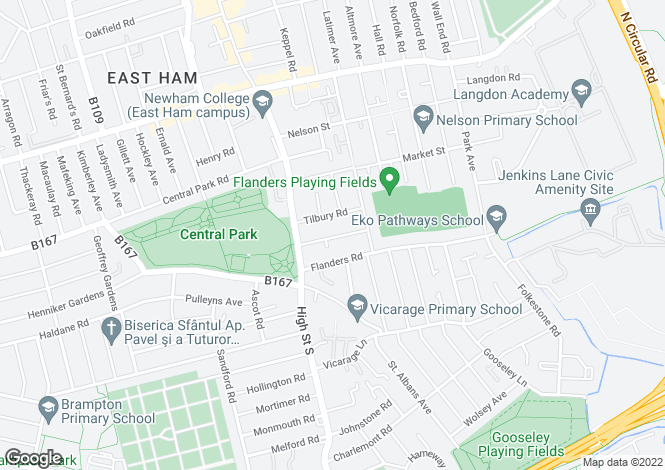 Map for East Ham