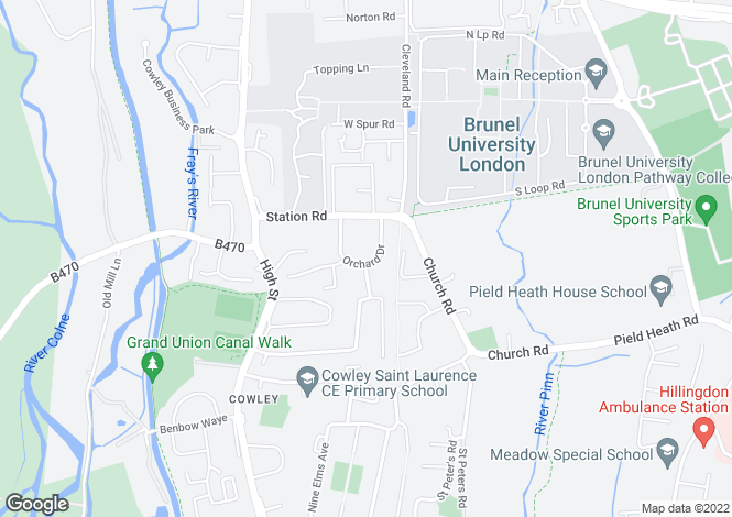 Map for Orchard Drive, Cowley, Middlesex
