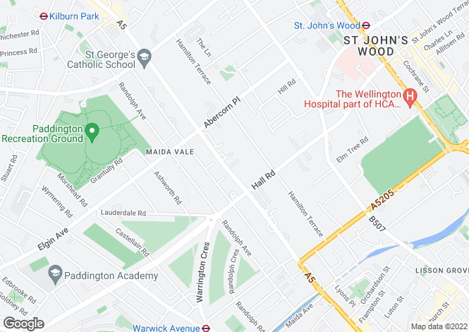 Map for Vale Close, Maida Vale, London