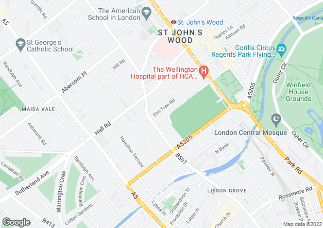 Map for Elm Tree Road, St John's Wood NW8