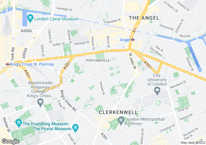 Map for Inglebert Street, Clerkenwell, London, EC1R