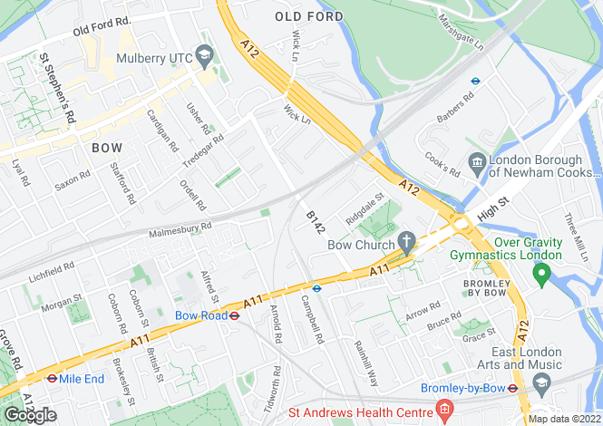 Map for Apartment E7, Now Bow, London, E3