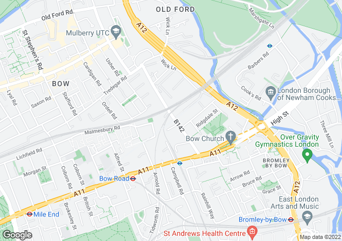 Map for Fairfield Road, Bow, London, E3