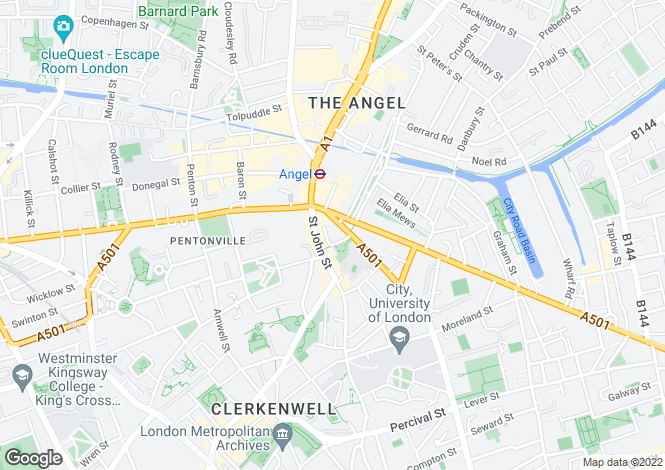 Map for Owen Street, Angel