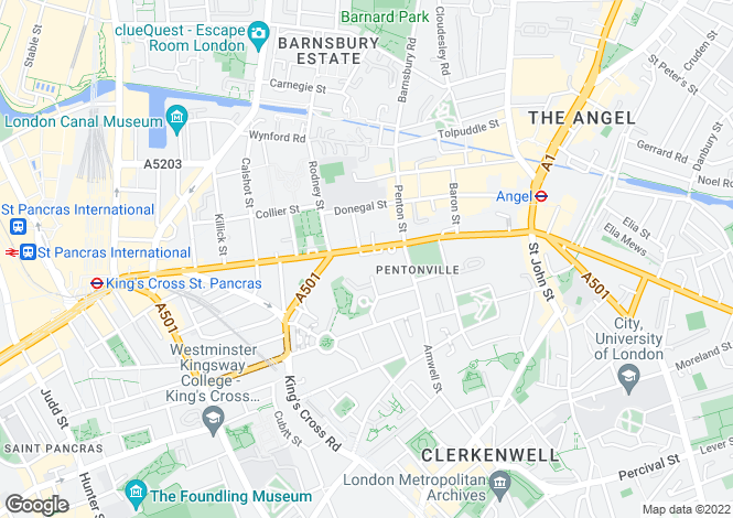 Map for Pentonville Road, Islington, London